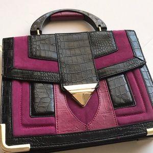 "Handbags - ""Forever New"" / Dark Fuschia/ Purple Suede Handbag"